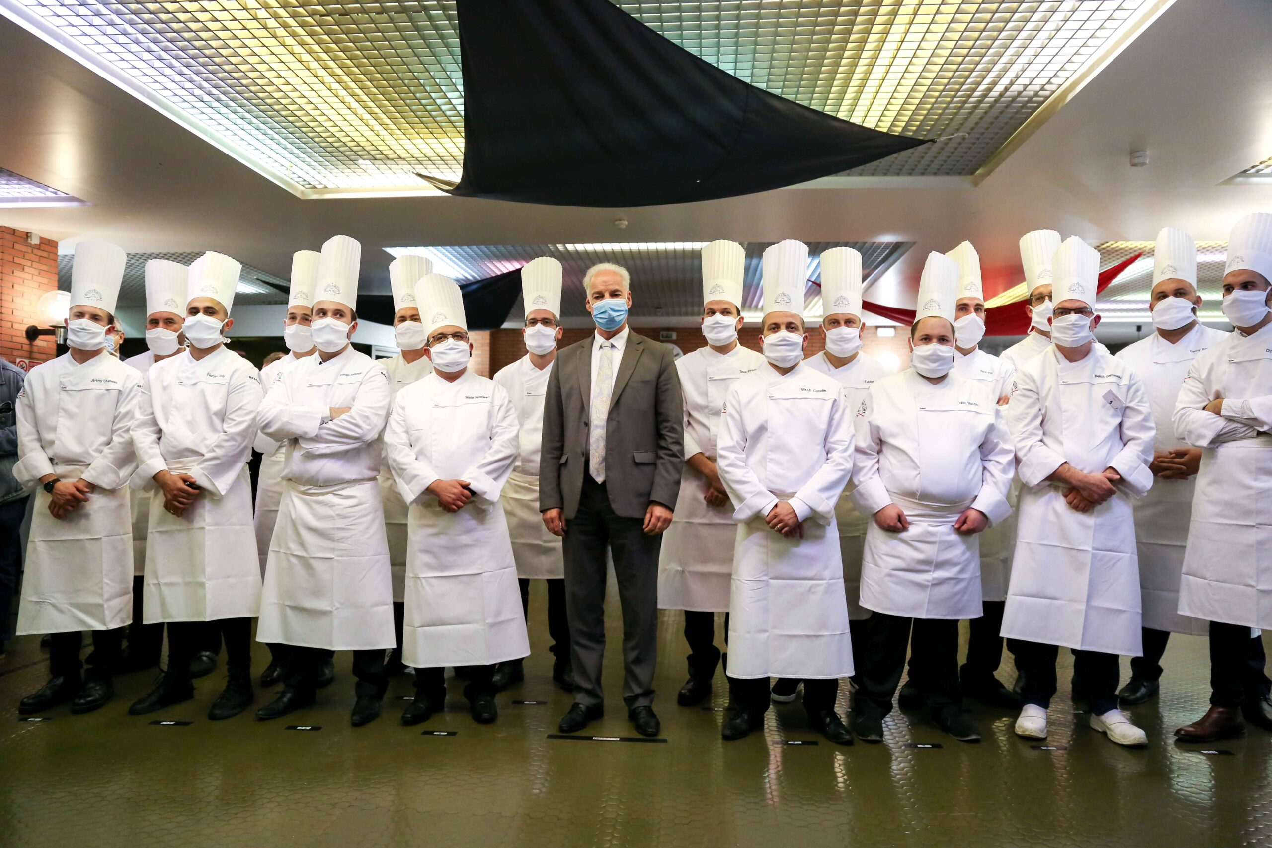 French Junior Minister of Small and Medium Entreprises Alain Griset (C) visits the Culinary Professions Centre of Excellence (Centre d'excellence des professions culinaires – CEPROC) for the awards ceremony of the Grand Prix of France for artisanal cha