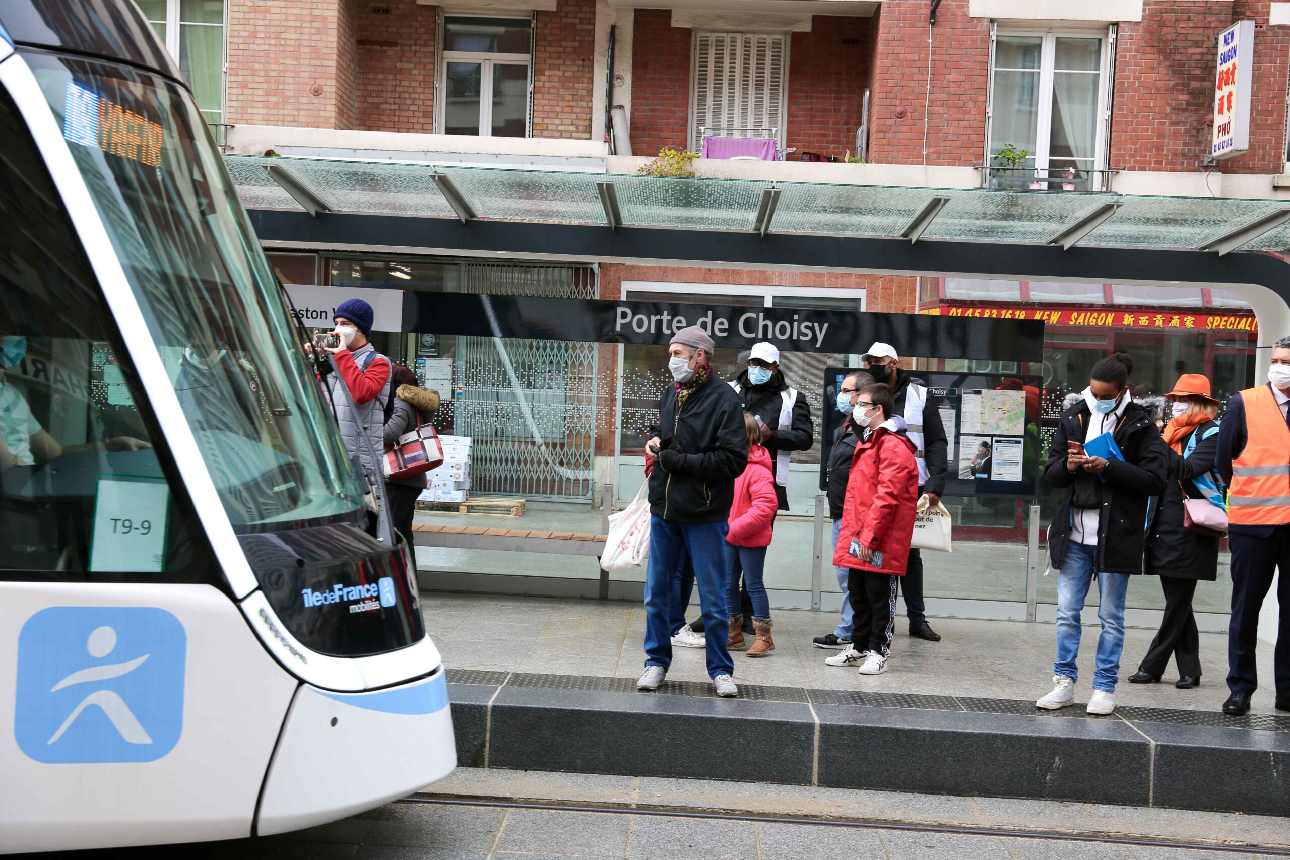 The population of Paris and its suburbs attends to the opening day of the new tramway T9 tram line between Porte de Choisy and Orly City, southeastern Paris, on April 10, 2021 at Porte de Choisy, in Paris.Line T9 connects Porte de Choisy Paris Métro sta