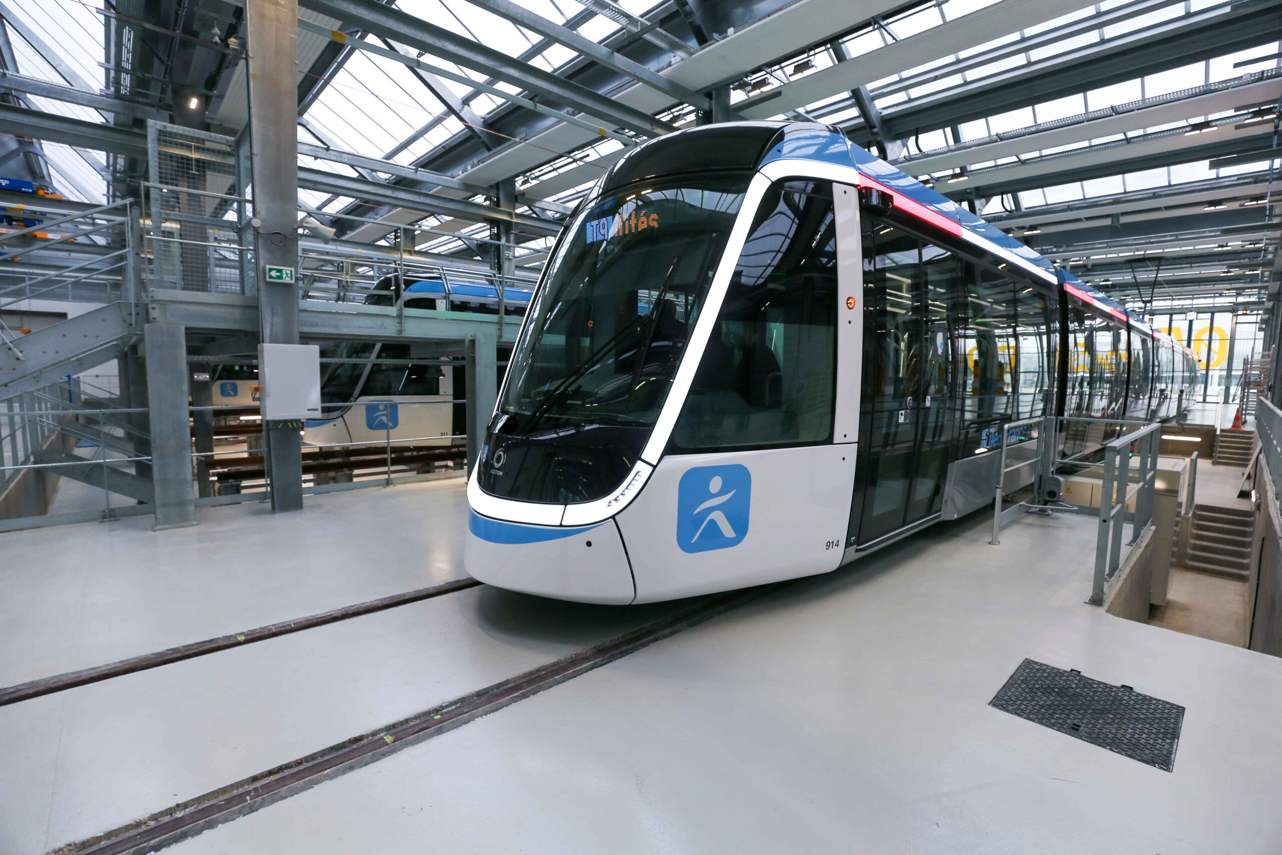 The repair facilities of the the new tramway T9 tram line between Porte de Choisy and Orly City, southeastern Paris, on April 10, 2021 at Orly City, during the open day of the line.Line T9 connects Porte de Choisy Paris Métro station and the centre of O