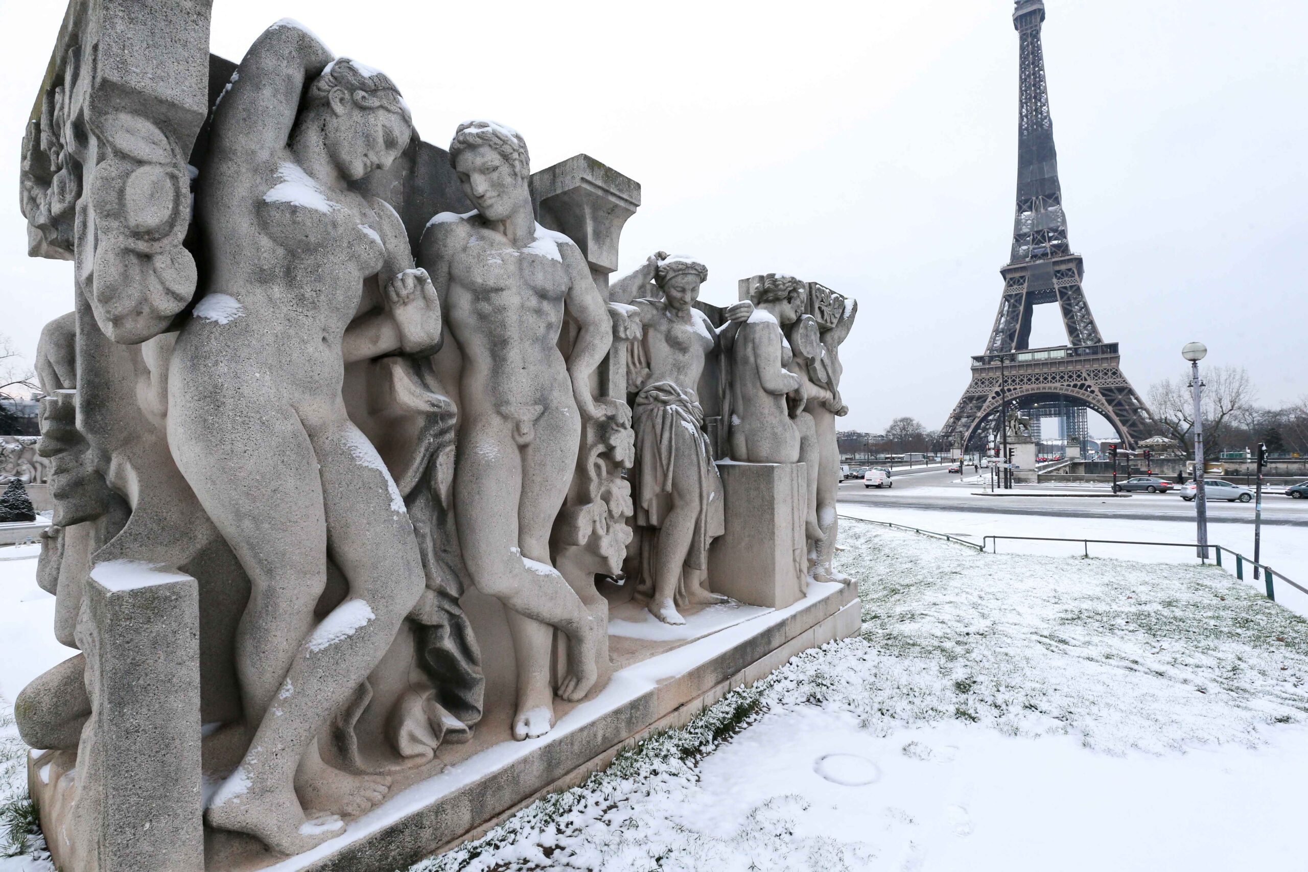 The Trocadero gardens, in front of the Eiffel Tower, in Paris, are covered in snow on February 10, 2021, following an overnight snowfall. In parts of the Paris region authorities cancelled school buses and urged parents to keep children at home. The city o