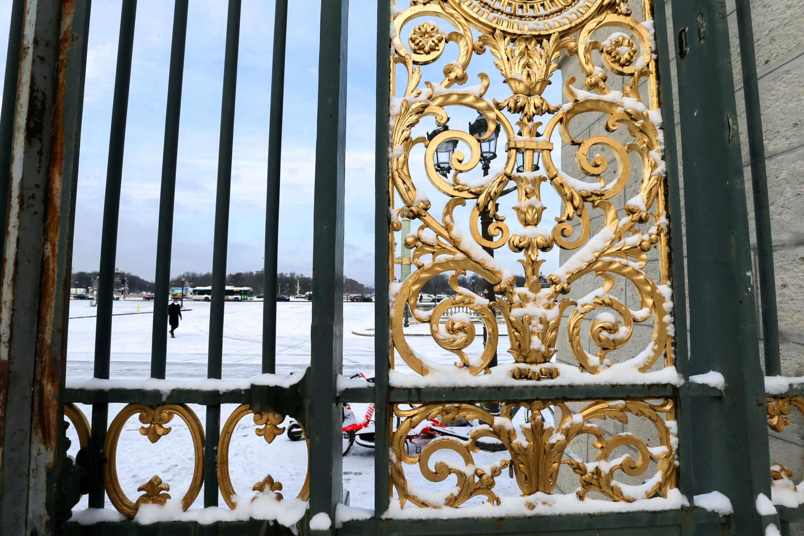 The entrance to the Tuileries garden, in Paris, is covered in snow on February 10, 2021, following an overnight snowfall. In parts of the Paris region authorities cancelled school buses and urged parents to keep children at home. The city of Paris has open