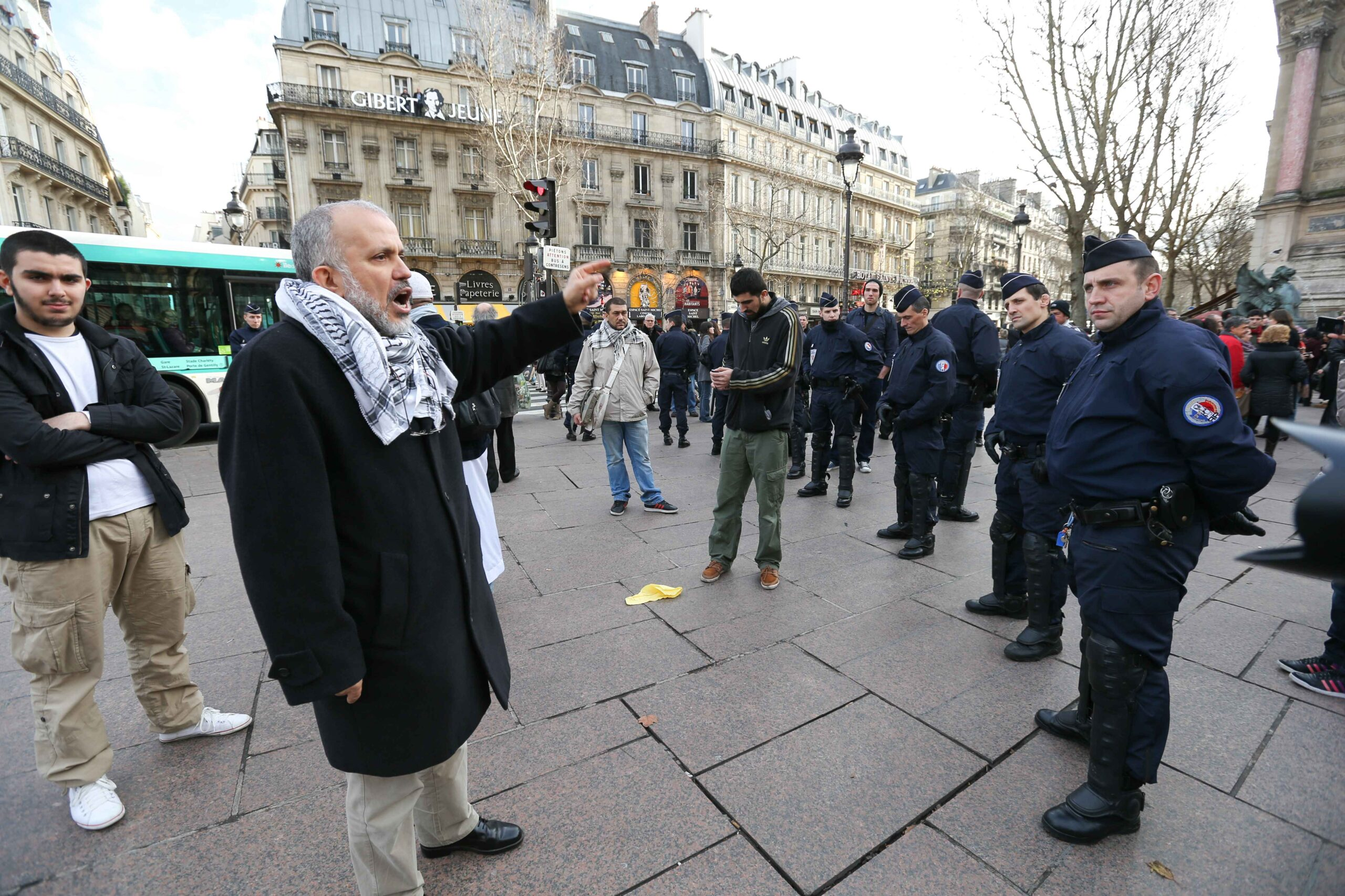 Abdelhakim Sefrioui lors d'une manifestation en 2012. © Michel Stoupak. Sam 29.12.2012.