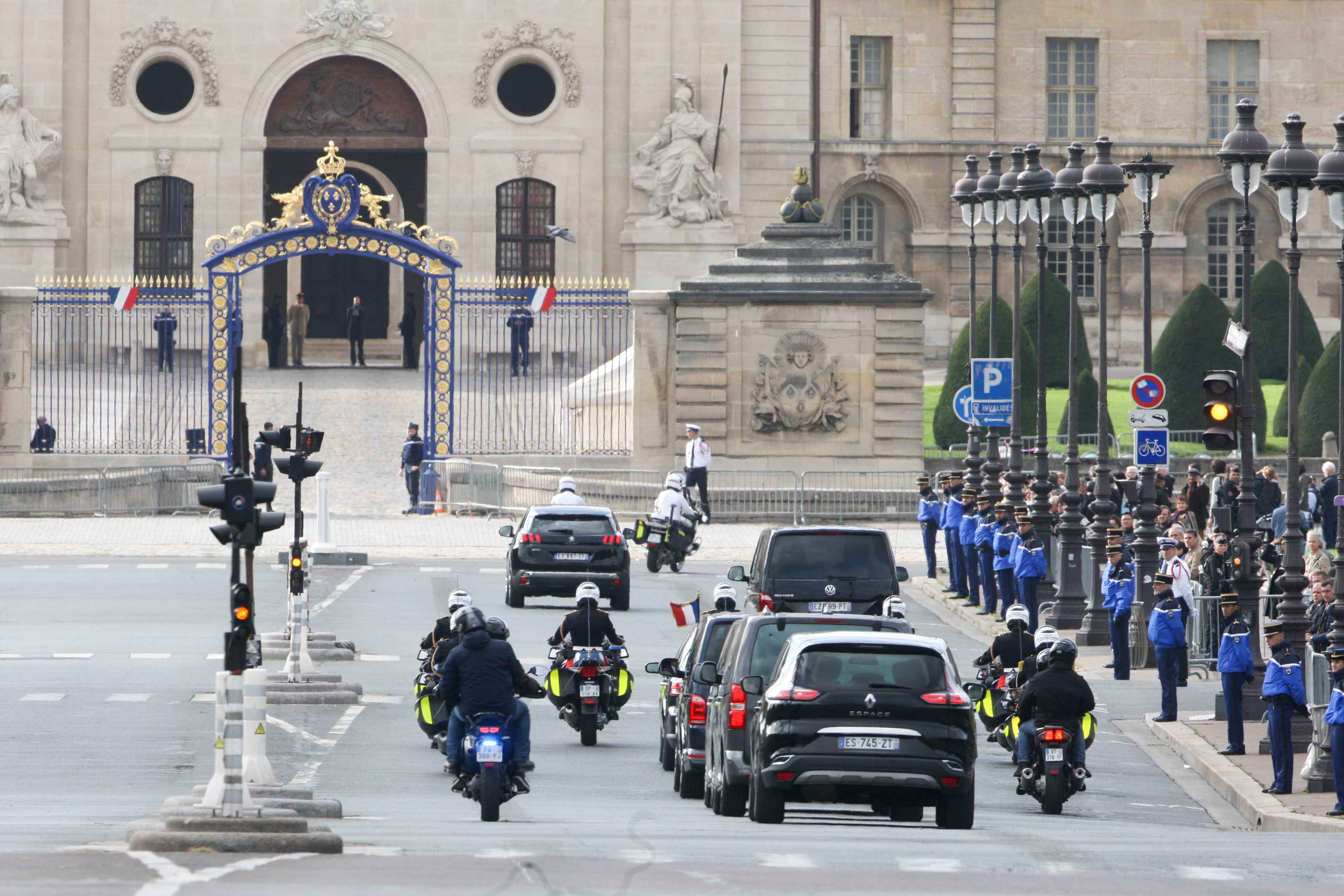 French President Emmanuel Macron arrives to attend a military tribute to former French President Jacques Chirac at the Invalides (Hotel des Invalides) in Paris on September 30, 2019. Former French President Jacques Chirac died on September 26, 2019 at the