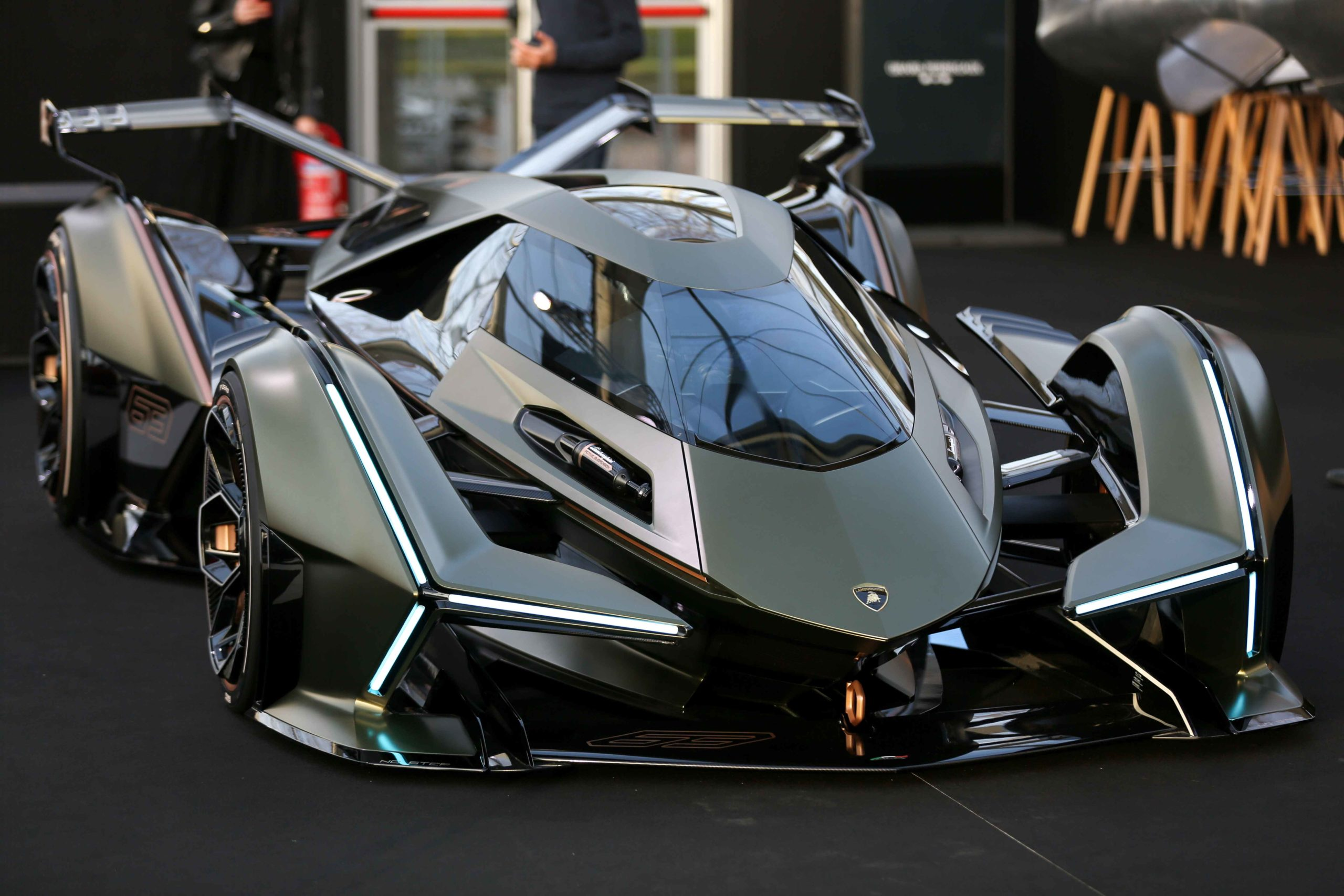 A Lamborghini Lambo V12 Gran Turismo is displayed during the press day of the 2020 concept-cars exhibition and automobile design in Paris on January 20, 2020. The latest concept-cars and supercars are displayed during this exhibition where the greatest des