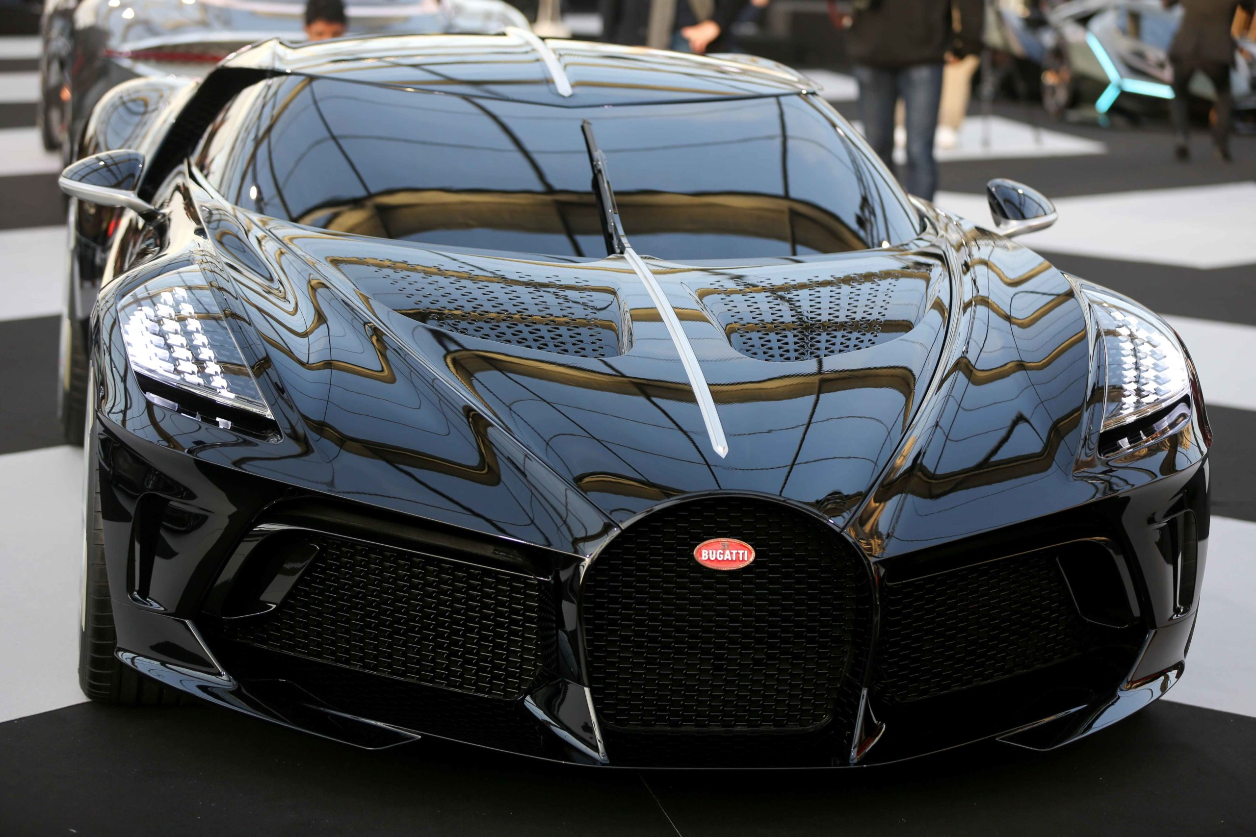 A Bugatti La Voiture Noire concept-car is displayed during the press day of the 2020 concept-cars exhibition and automobile design in Paris on January 20, 2020. The latest concept-cars and supercars are displayed during this exhibition where the greatest d