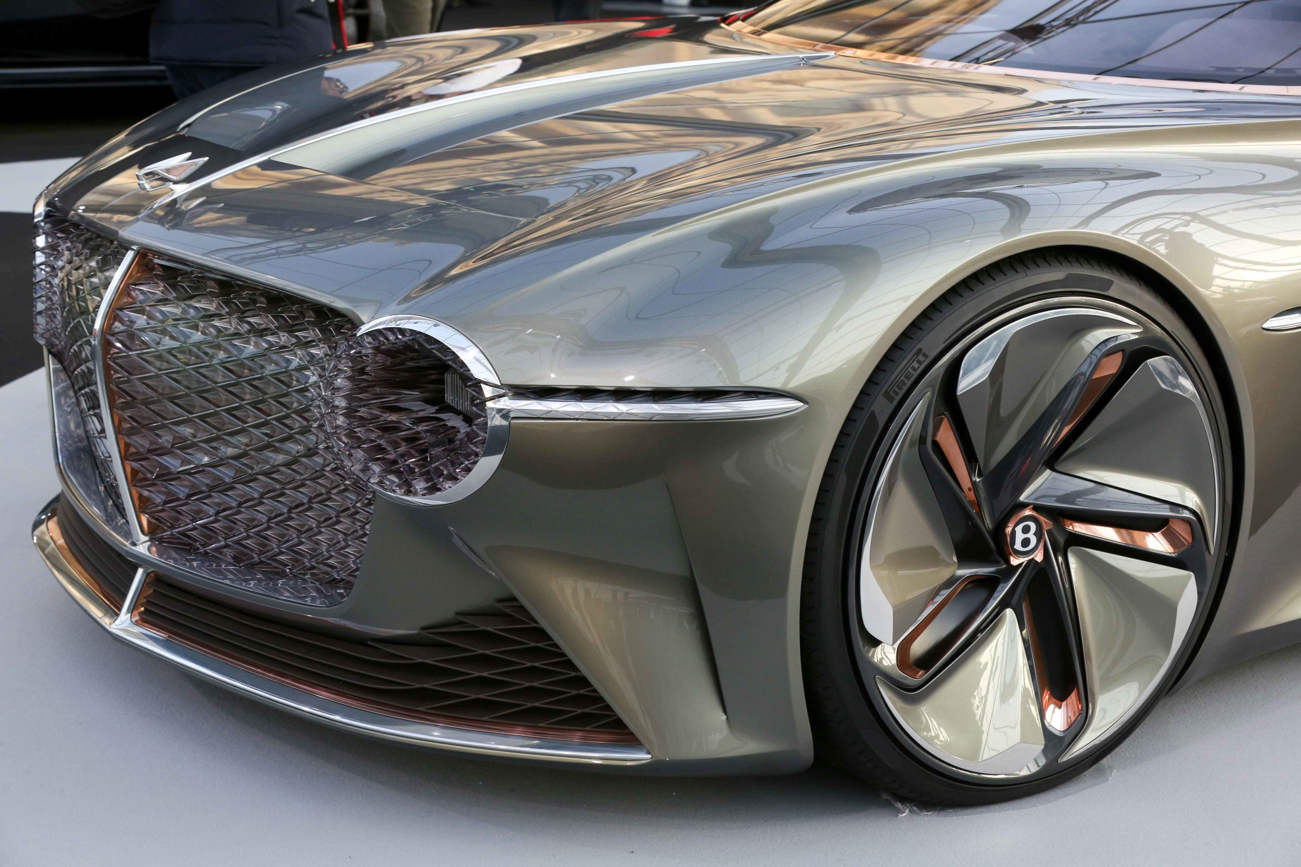 A Bentley Exp 100 GT concept-car is displayed during the press day of the 2020 concept-cars exhibition and automobile design in Paris on January 20, 2020. The latest concept-cars and supercars are displayed during this exhibition where the greatest designe